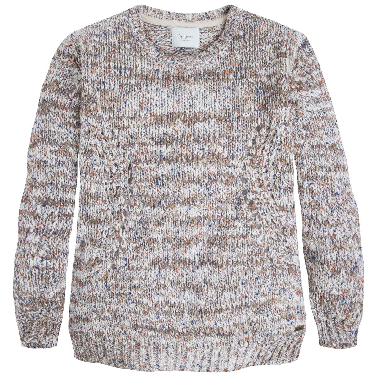 Пуловер с круглым воротником из меланжевого трикотажа LAIAСостав и описаниеМарка: PEPE JEANS.Модель: LAIA.Материал: 100% хлопок.<br><br>Цвет: бежевый/разноцветный<br>Размер: M