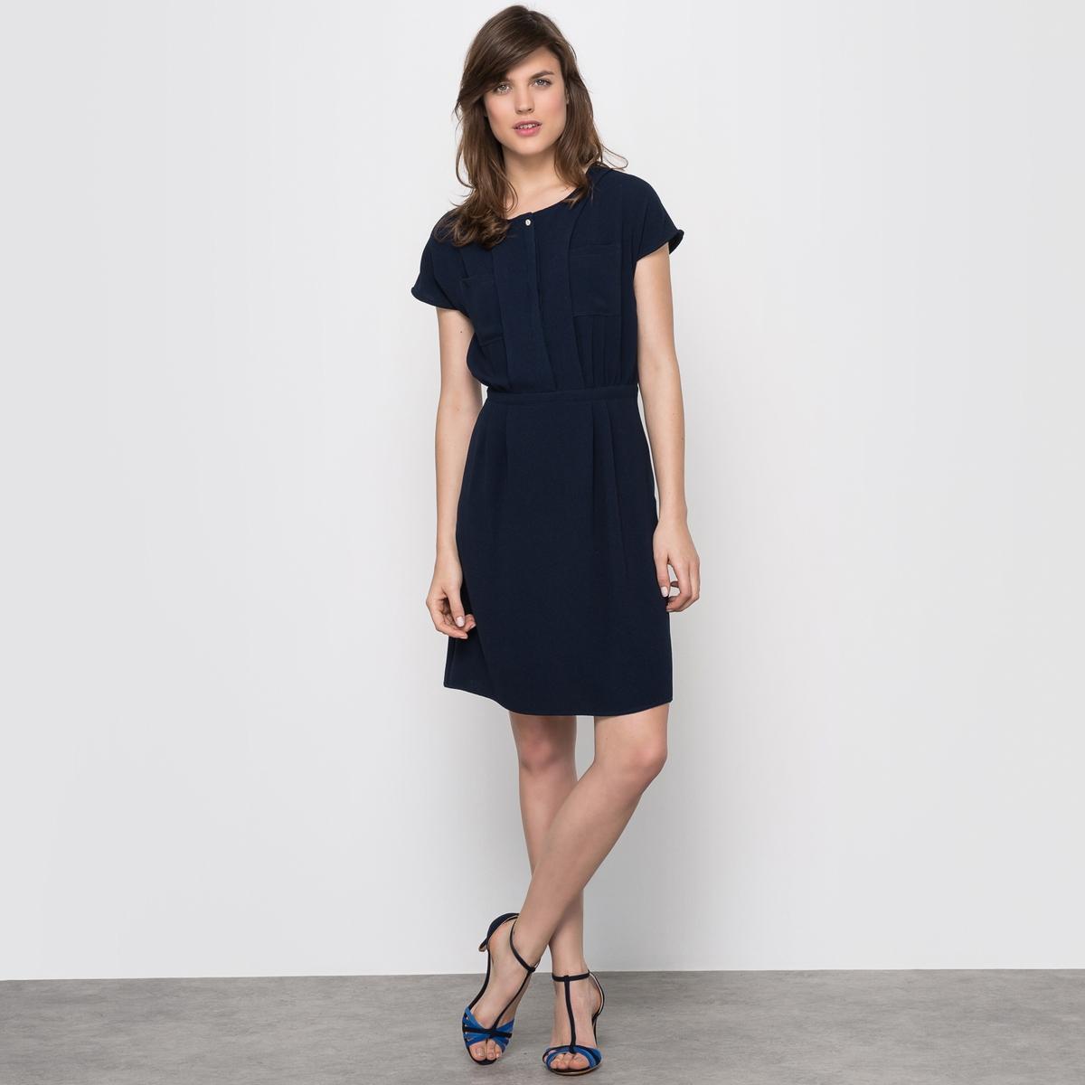 Платье с короткими рукавамиКороткие рукава. Эластичный пояс. Широкая вставка на талии. Два накладных кармана на груди. Платье 98% полиэстера, 2% эластана. Длина 92 см.<br><br>Цвет: экрю<br>Размер: 38 (FR) - 44 (RUS).42 (FR) - 48 (RUS)