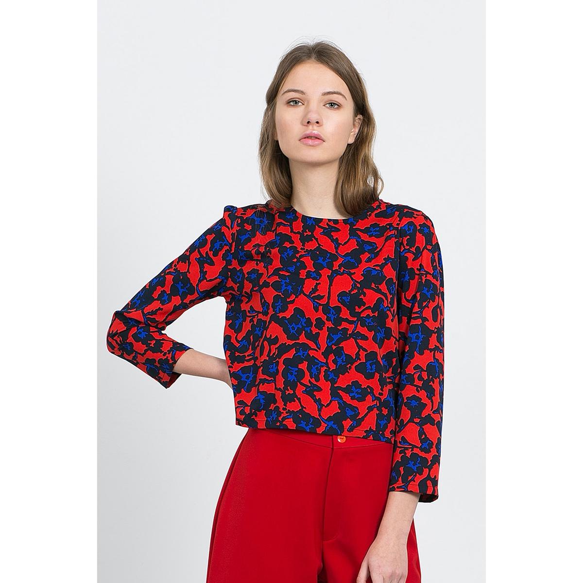 Блузка короткая с рукавами 3/4  MARIA TOPБлузка COMPANIA FANTASTICA. Эта блузка наделена всеми преимуществами, чтобы покорить самых взыскательных покупателей  : рукава 3/4, короткий покрой и цветочный принт . Состав и описание :Материал : 100% полиэстераМарка : COMPANIA FANTASTICA.УходСтирать при 30° с одеждой подобного цвета Стирать и гладить с изнанки<br><br>Цвет: красный