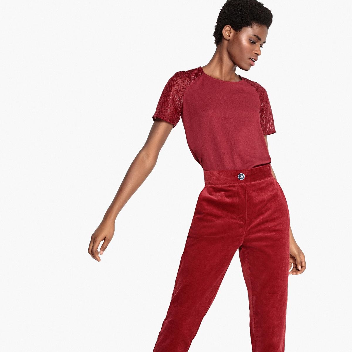Блузка с круглым вырезом, глубоким вырезом сзади и короткими рукавами moda argenti moda argenti st 767 oro