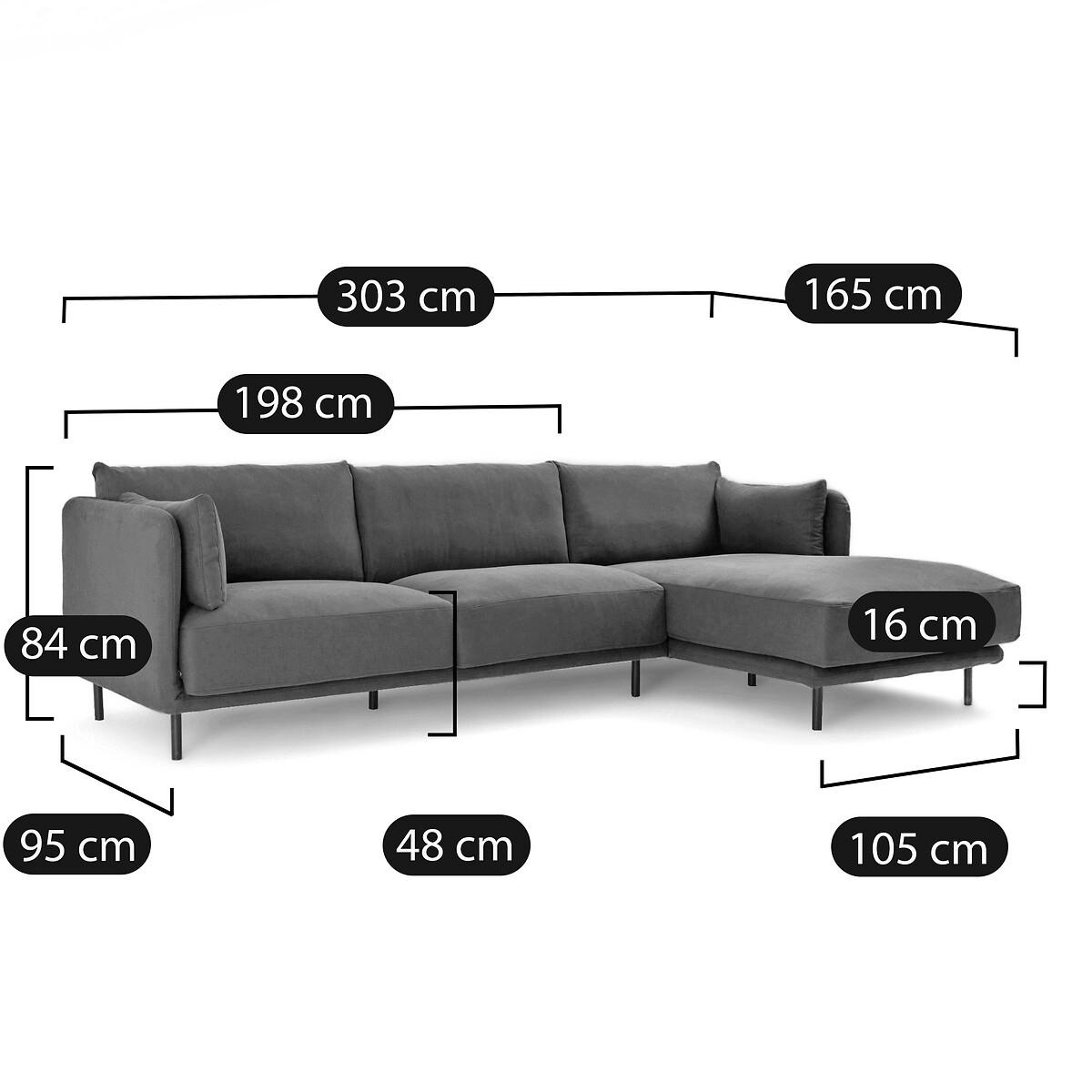 Canapé d'angle Noir Tissu Contemporain Confort
