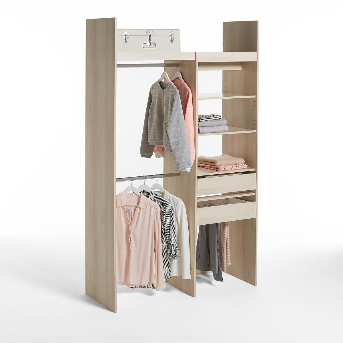 Гардероб La Redoute Модульный с стеллажом и отделениями для одежды Yann единый размер каштановый