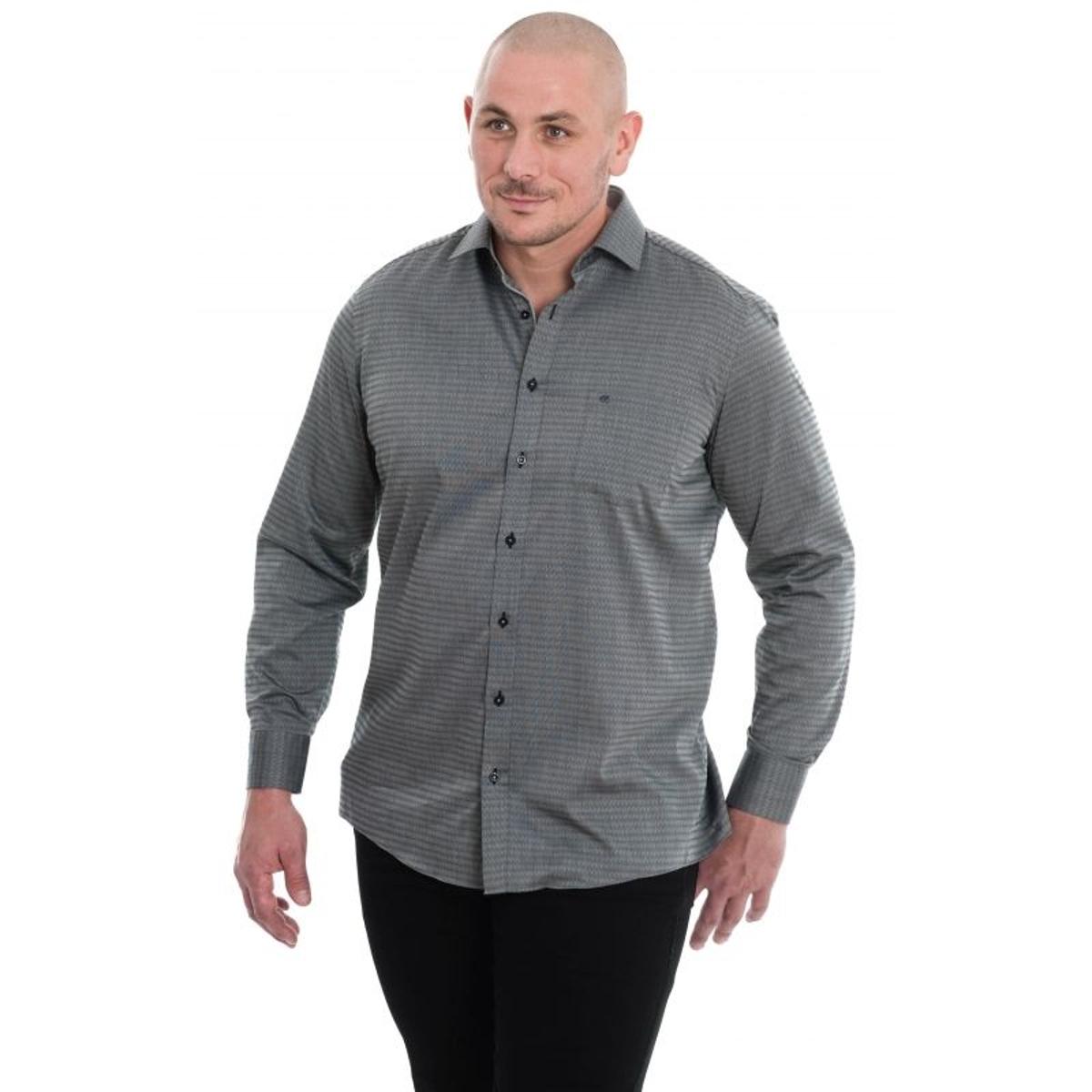 Chemise gris à motifs chevrons gris métal