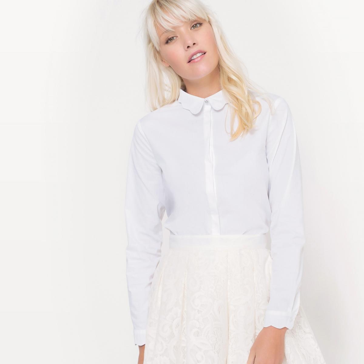 Рубашка с красивым воротником, из хлопка