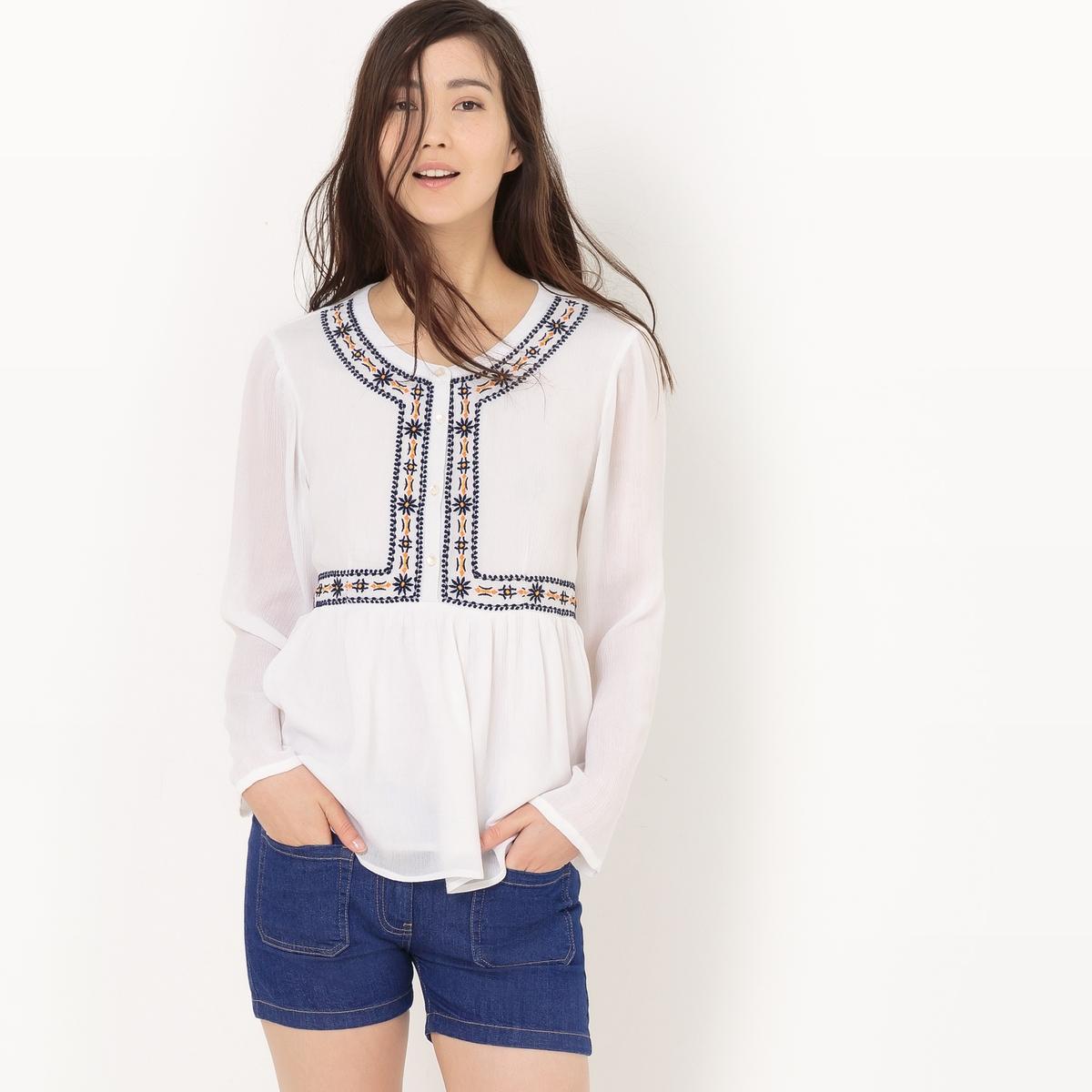 Блузка с вышивкой с баской