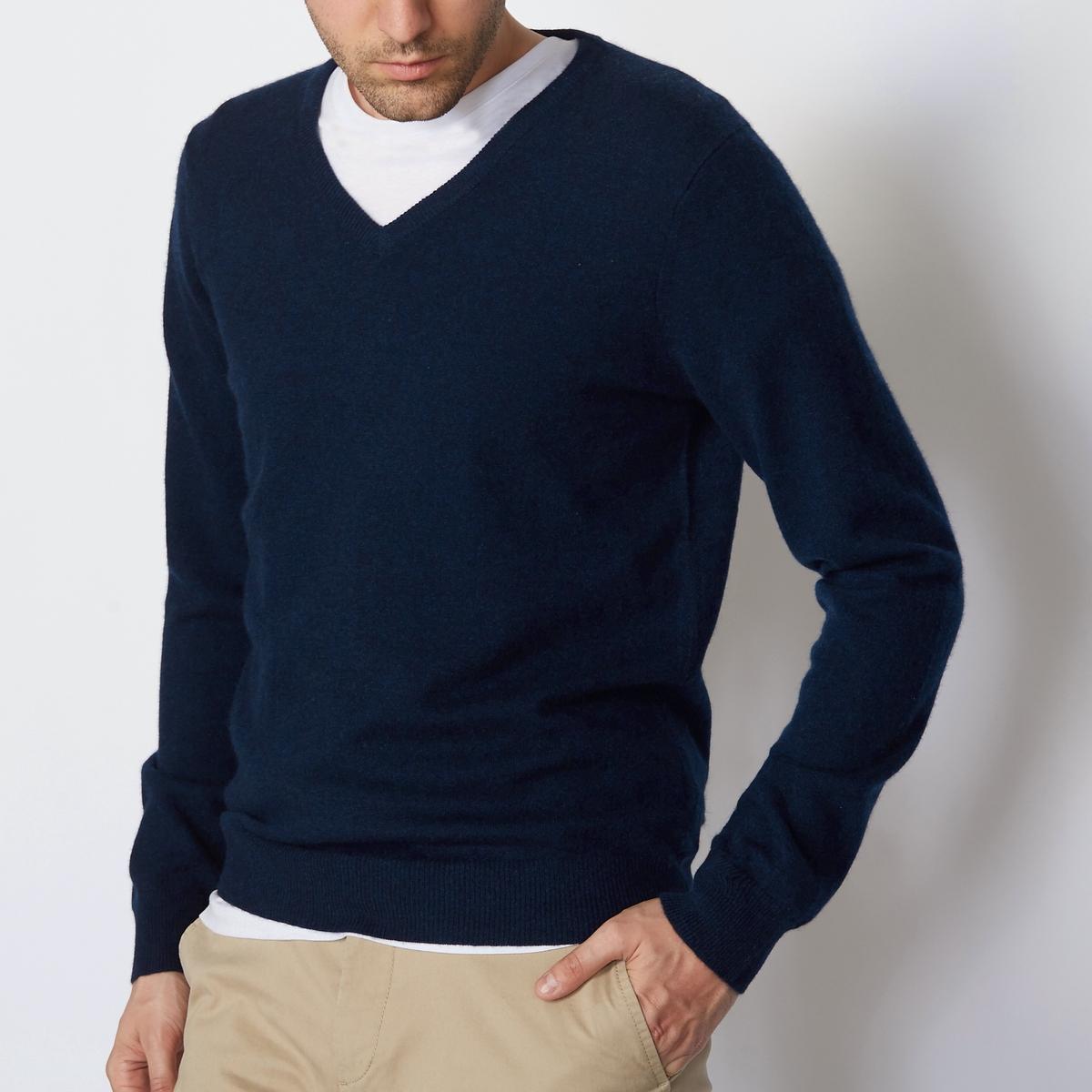 Пуловер из кашемира с V-образным вырезомСостав и описание Материал : 100% кашемирДлина : 66 смМарка : R essentiel<br><br>Цвет: темно-серый меланж,темно-синий,черный,экрю