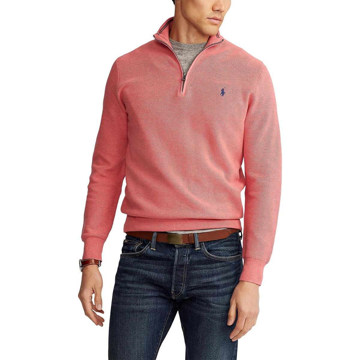 Пуловер LaRedoute С воротником-стойкой на молнии из хлопковой ткани Pima XXL розовый