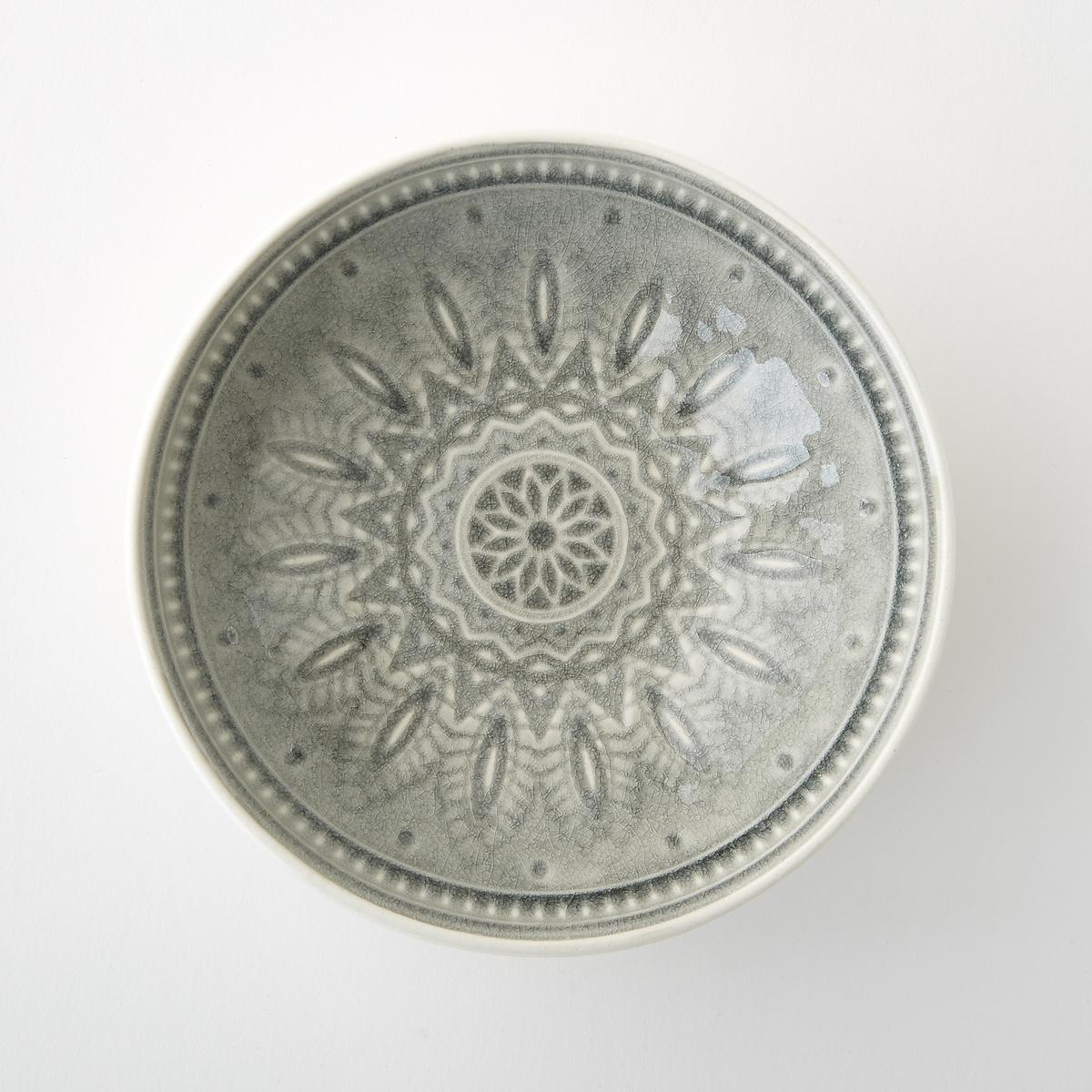 4 чаши керамических Nicolosi4 чаши Nicolosi. Из эмалированной керамики с отделкой кракле. Объемный рисунок. Подходит для посудомоечной машины и микроволновой печи. Размеры  : ?17,5 x В5,5 см.<br><br>Цвет: серый