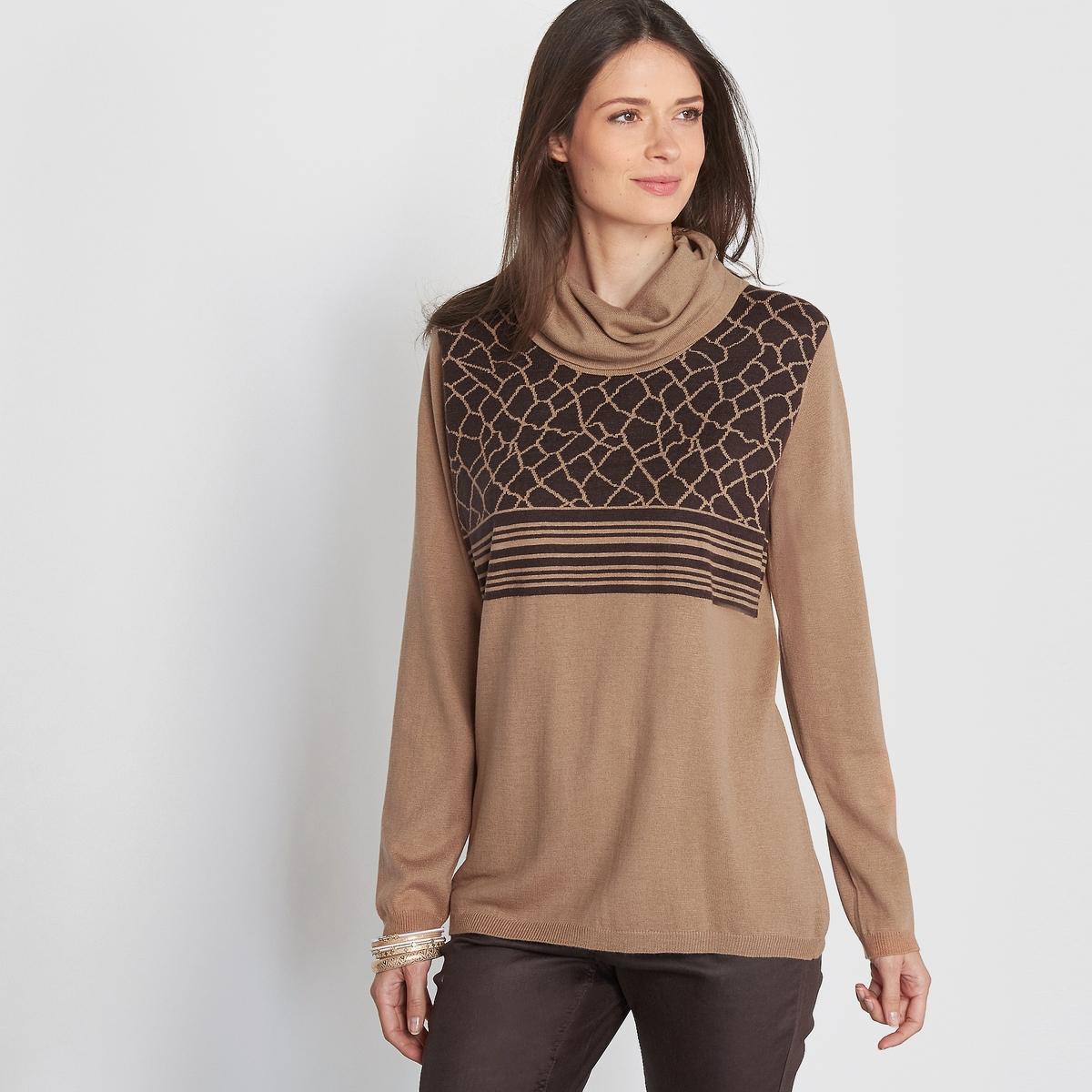 Пуловер, круглый вырез, 10% шерсти