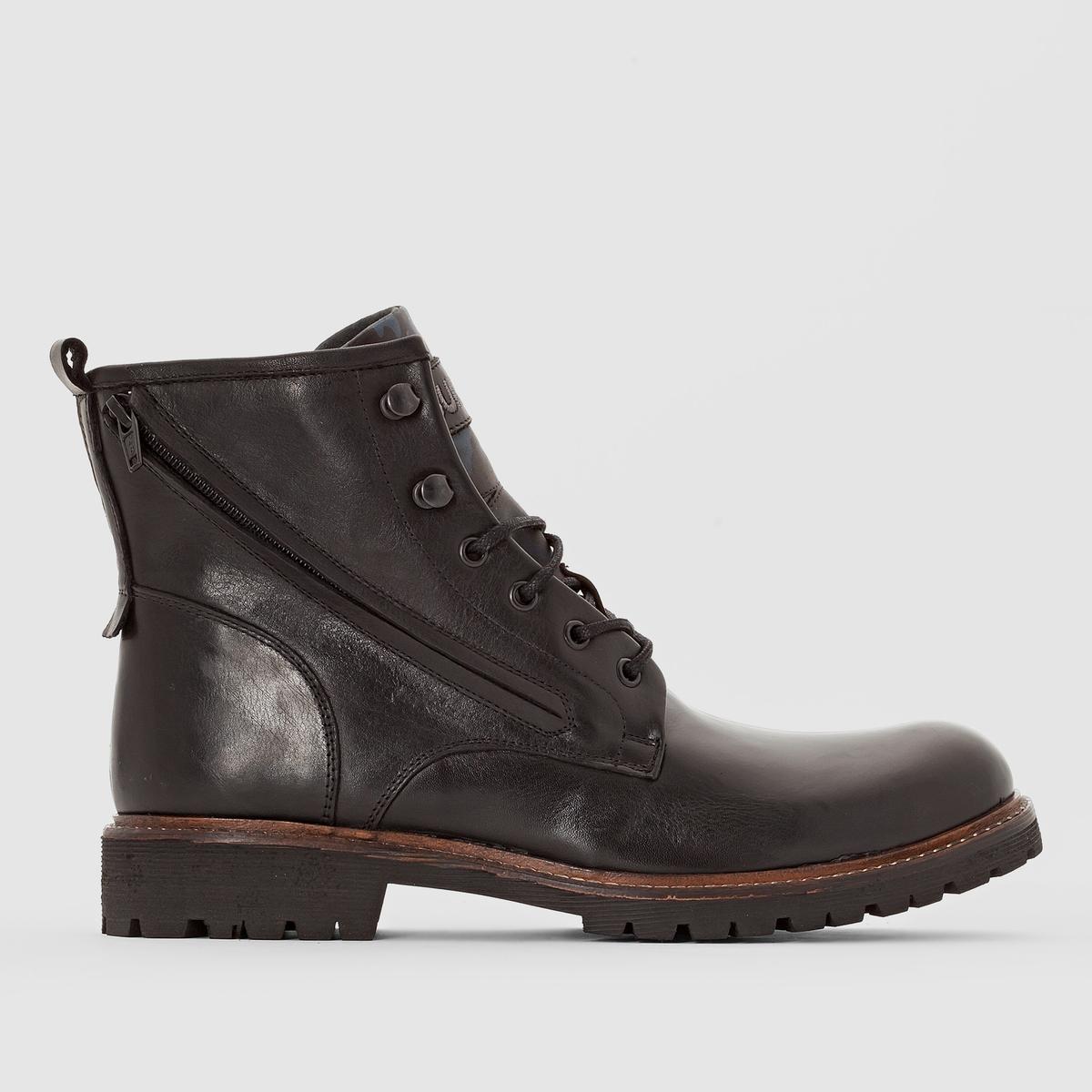 Ботинки, WORKПодкладка: Кожа.       Стелька: Кожа.      Подошва: Каучук.    Высота голенища: 17 см. Форма каблука: Плоская.Мысок: Круглый.   Застежка: На молнию.<br><br>Цвет: черный<br>Размер: 42