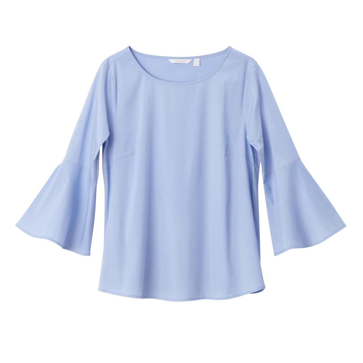 Блузка с широкими рукавами 3/4Материал : 72% хлопка, 2% эластана, 26% полиэстера   Длина рукава : рукава 3/4 Форма воротника : круглый вырез Длина блузки: стандартная  Рисунок : однотонная модель<br><br>Цвет: голубой<br>Размер: 38 (FR) - 44 (RUS)