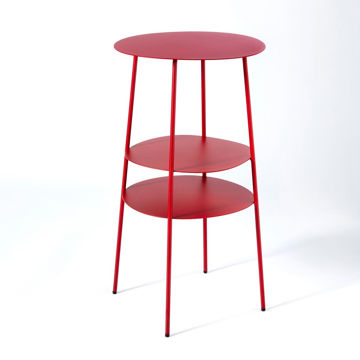 Столик прикроватный из металла красного цвета, Fractale