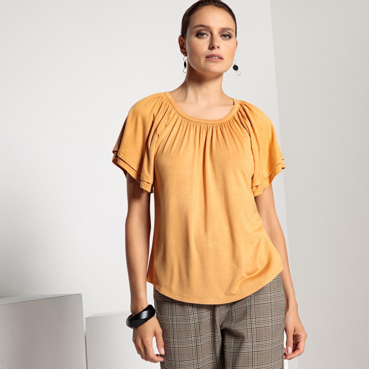 T-shirt com gola redonda, mangas curtas fantasia