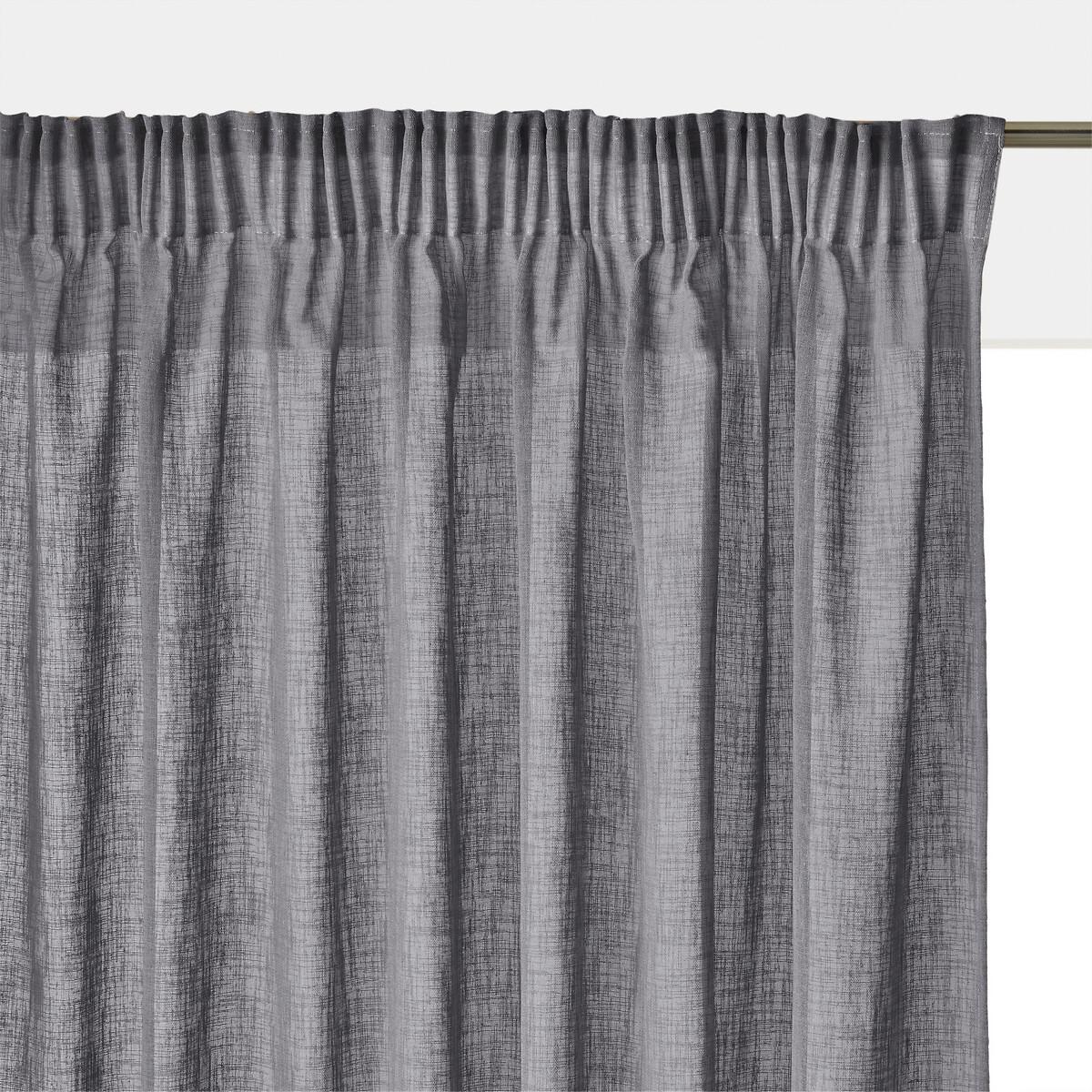 Занавеска LaRedoute С эффектом льна с затемненной тесьмой Nyong 350 x 140 см серый