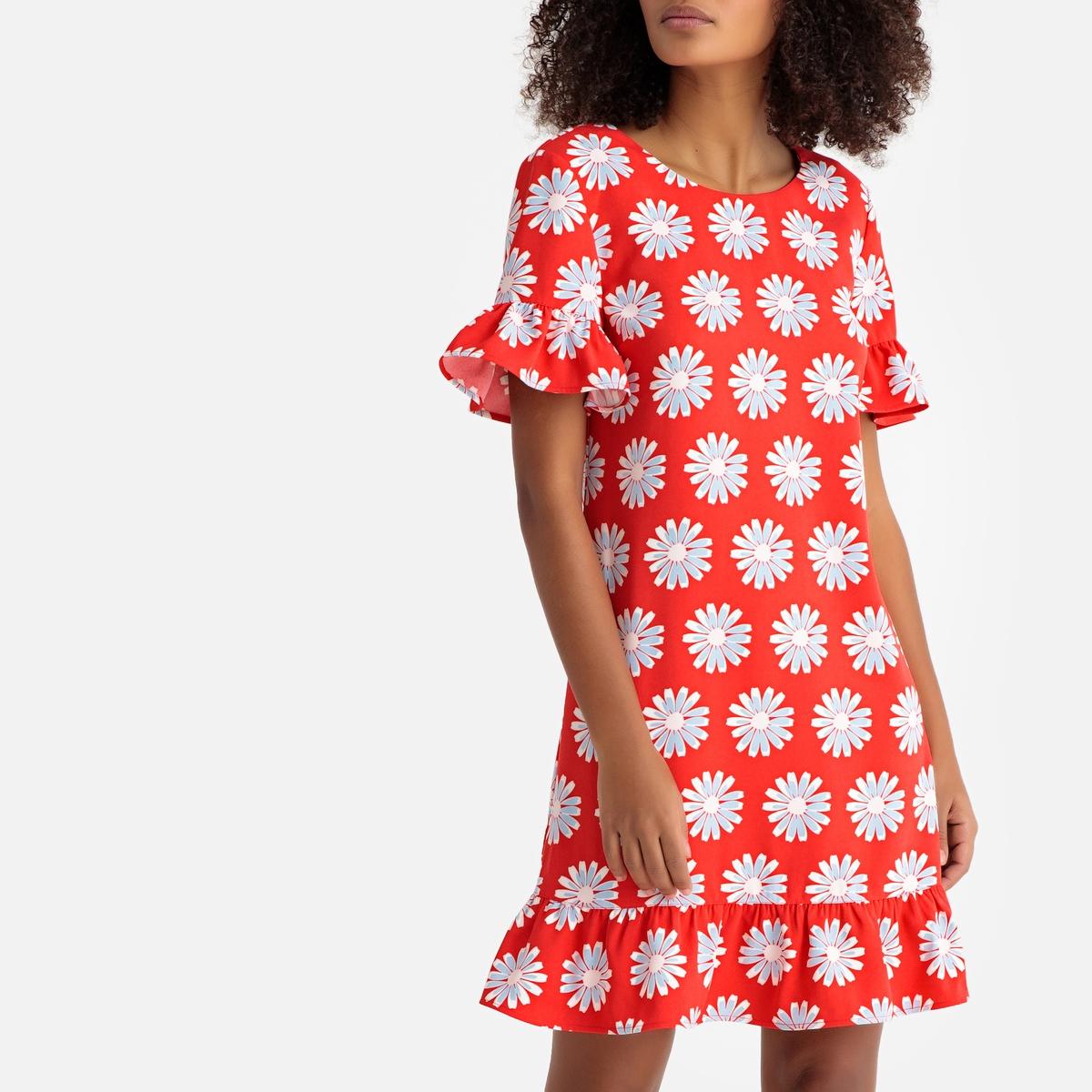 Платье-миди La Redoute Расклешенное с баской и цветочным рисунком 34 (FR) - 40 (RUS) красный платье миди la redoute расклешенное с баской и цветочным рисунком 34 fr 40 rus красный
