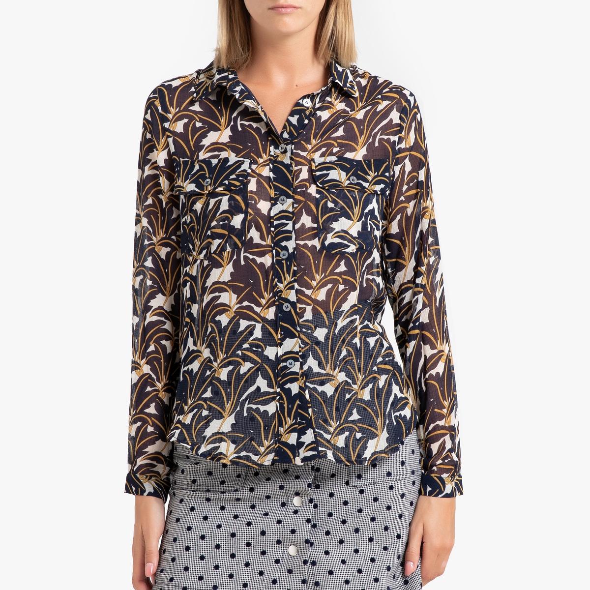 Рубашка La Redoute С длинными рукавами CLOTILDA XL синий сорочка с длинными рукавами aygey
