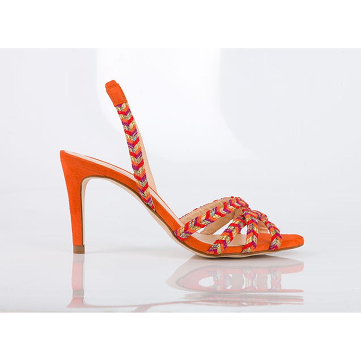 Босоножки BeautifulВерх : текстиль   Подкладка : кожа   Стелька : кожа   Подошва : синтетика   Высота каблука : 8,5 см   Форма каблука : шпилька   Мысок : открытый мысок   Застежка : без застежки<br><br>Цвет: оранжевый