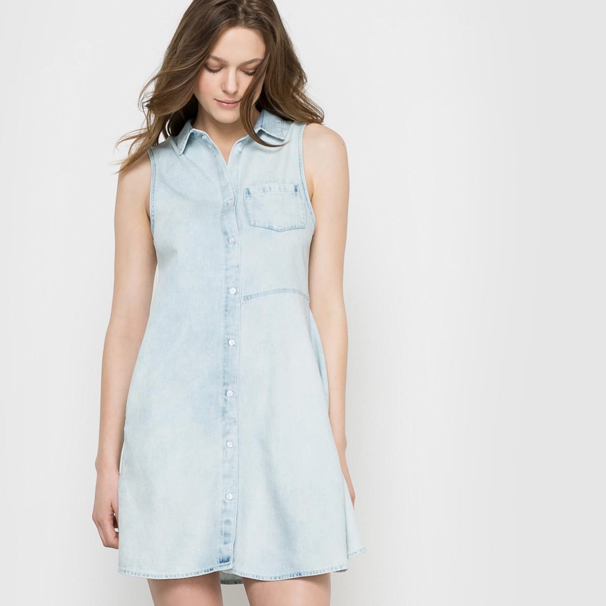 Платье-рубашка без рукавов, с карманом CHEAP MONDAY SPEND DETONATION DRESSСостав и описание :Материал : 100% хлопкаМарка : CHEAP MONDAY.<br><br>Цвет: голубой выбеленный<br>Размер: M