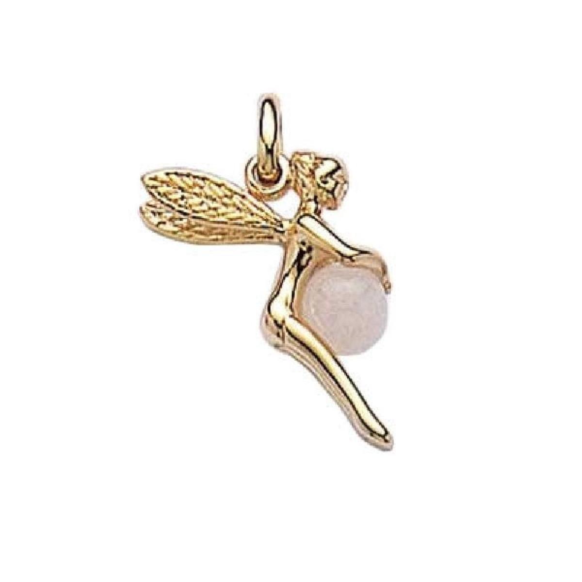 Pendentif Fée Clochette Quartz Rose Plaqué Or 750