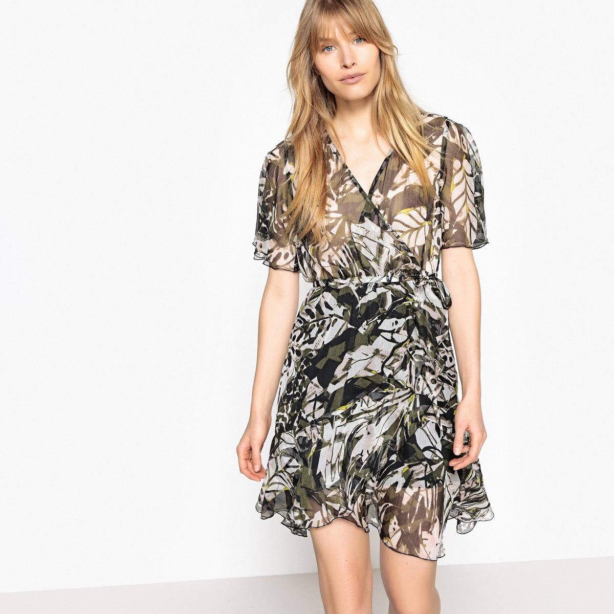 Sukienka kopertowa, wzorzysty woal, krótki rękaw