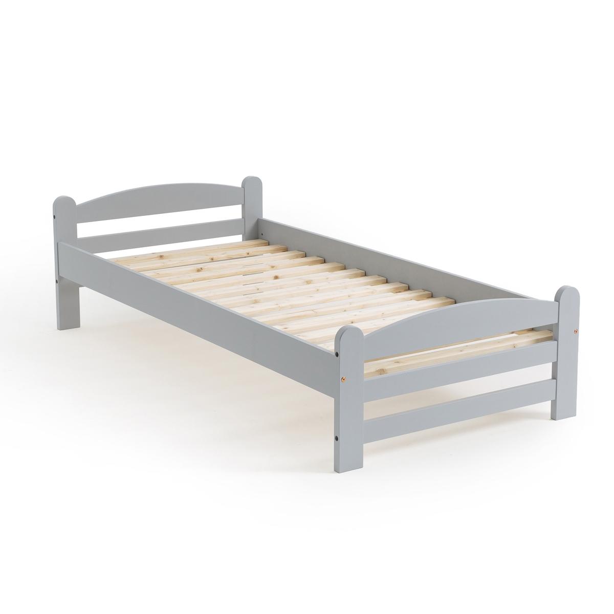 Кровать La Redoute Из массива сосны с кроватным основанием Loan 90 x 190 см серый