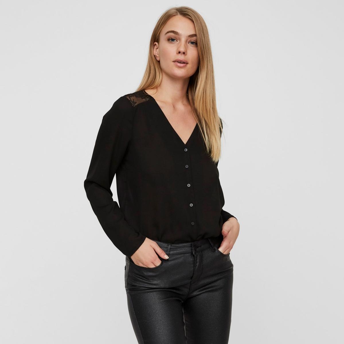 Блузка La Redoute С V-образным вырезом и вставками из кружева на плечах и сзади S черный