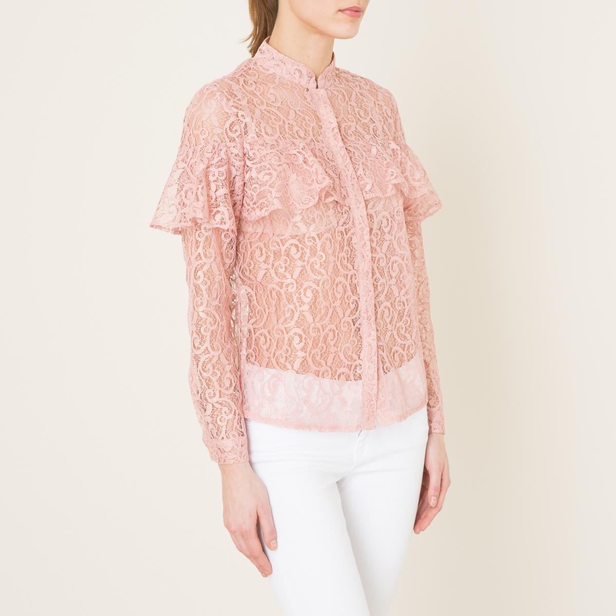 Рубашка из кружеваСостав и описание    Материал : 100% полиэстер   Марка : SISTER JANE<br><br>Цвет: розовый<br>Размер: L
