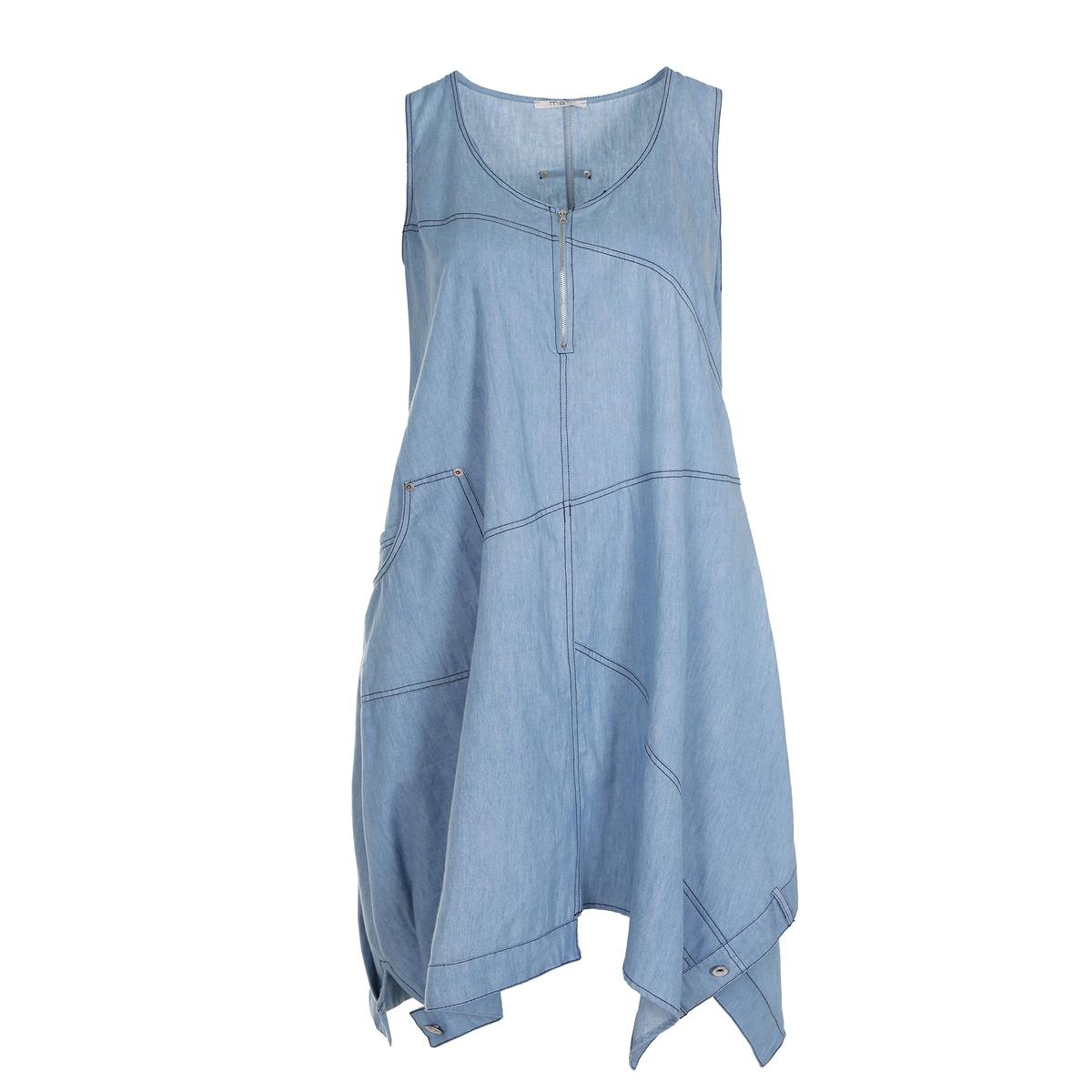 ПлатьеПлатье без рукавов из денима MAT FASHION. 100% хлопок. Асимметричный струящийся покрой из однотонной джинсовой ткани в стиле пэчворк. Без рукавов. V-образный вырез на молнии.<br><br>Цвет: голубой<br>Размер: 48/50 (FR) - 54/56 (RUS)