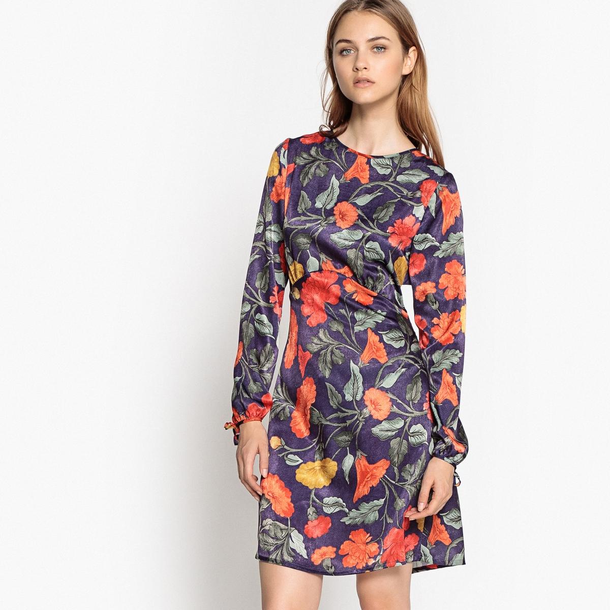 Платье La Redoute Расклешенное короткого покроя с рисунком 36 (FR) - 42 (RUS) синий платье la redoute короткое расклешенное с анималистическим рисунком 36 fr 42 rus синий