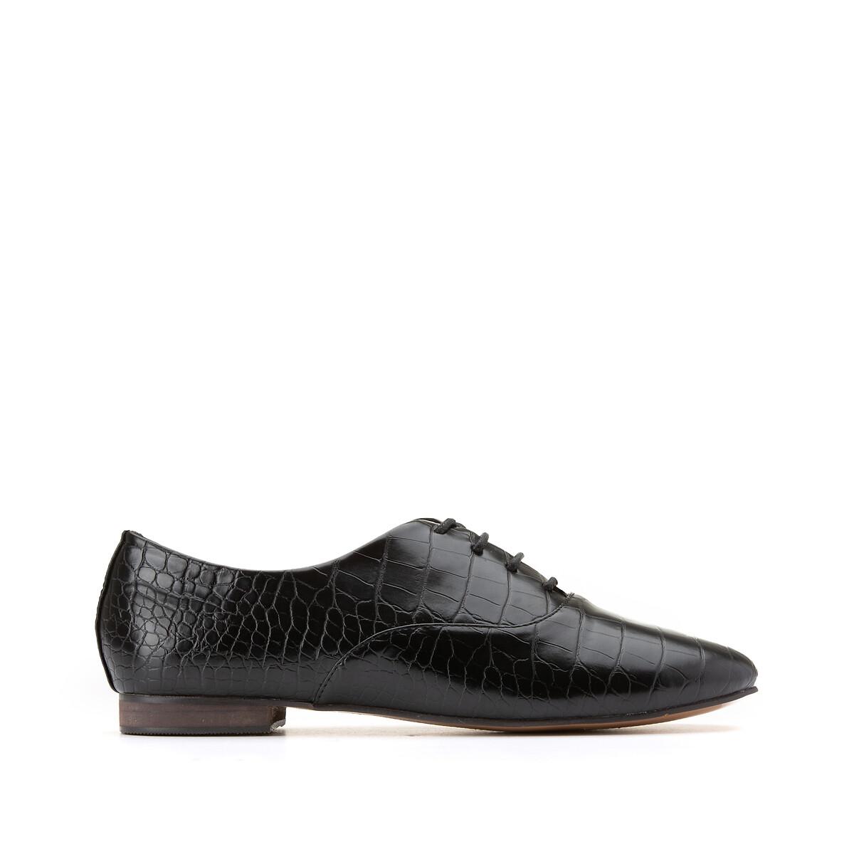 Ботинки-дерби La Redoute На шнуровке под крокодиловую кожу 39 черный