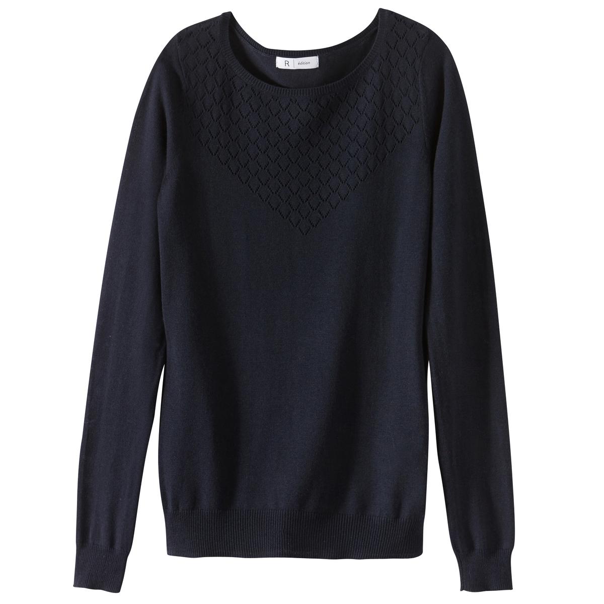 Пуловер с ажурным верхом из хлопка