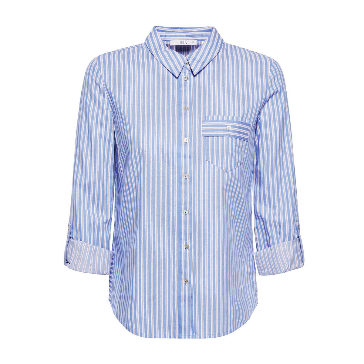 Camisa a rayas con bolsillo en el pecho y detalle detrás
