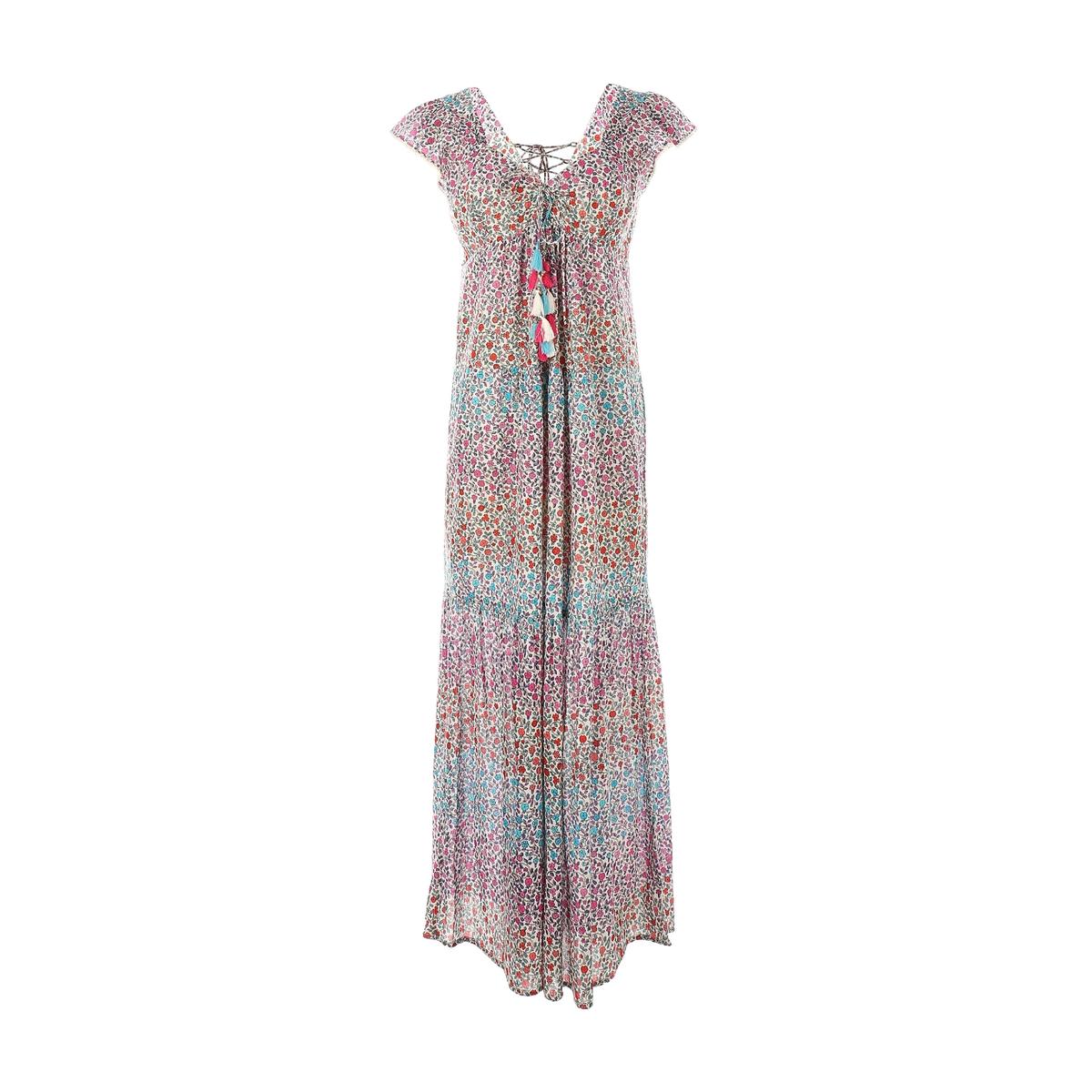 Платье длинное, с короткими рукавамиДетали •  Форма : прямая   •  Длинное •  Короткие рукава    •   V-образный вырез •  Рисунок-принтСостав и уход •  100% хлопок   •  Следуйте советам по уходу, указанным на этикетке<br><br>Цвет: наб. рисунок/ розовый