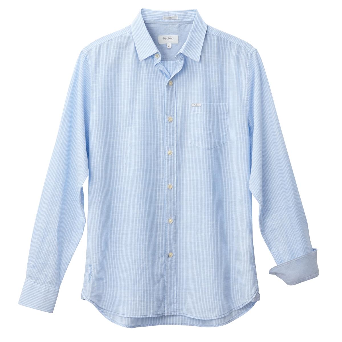 Рубашка в полоску с длинными рукавамиОписание:Детали •  Длинные рукава •  Прямой покрой •  Классический воротник •  Рисунок в полоску  Состав и уход •  100% хлопок •  Следуйте рекомендациям по уходу, указанным на этикетке изделия<br><br>Цвет: красный,синий<br>Размер: L.L.M.M