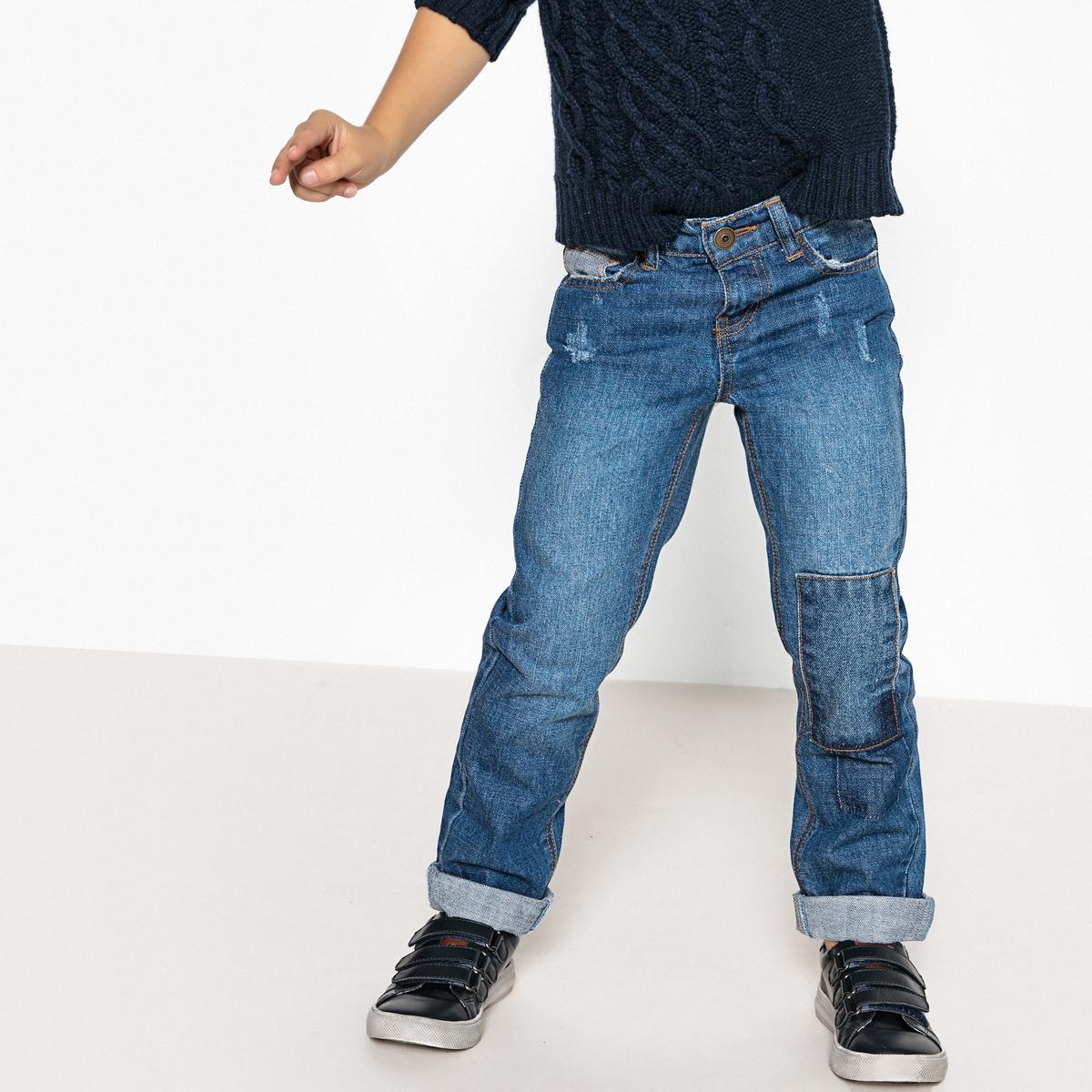 Джинсы прямые с нашивками, 3-12 лет джинсы прямые 3 12 лет