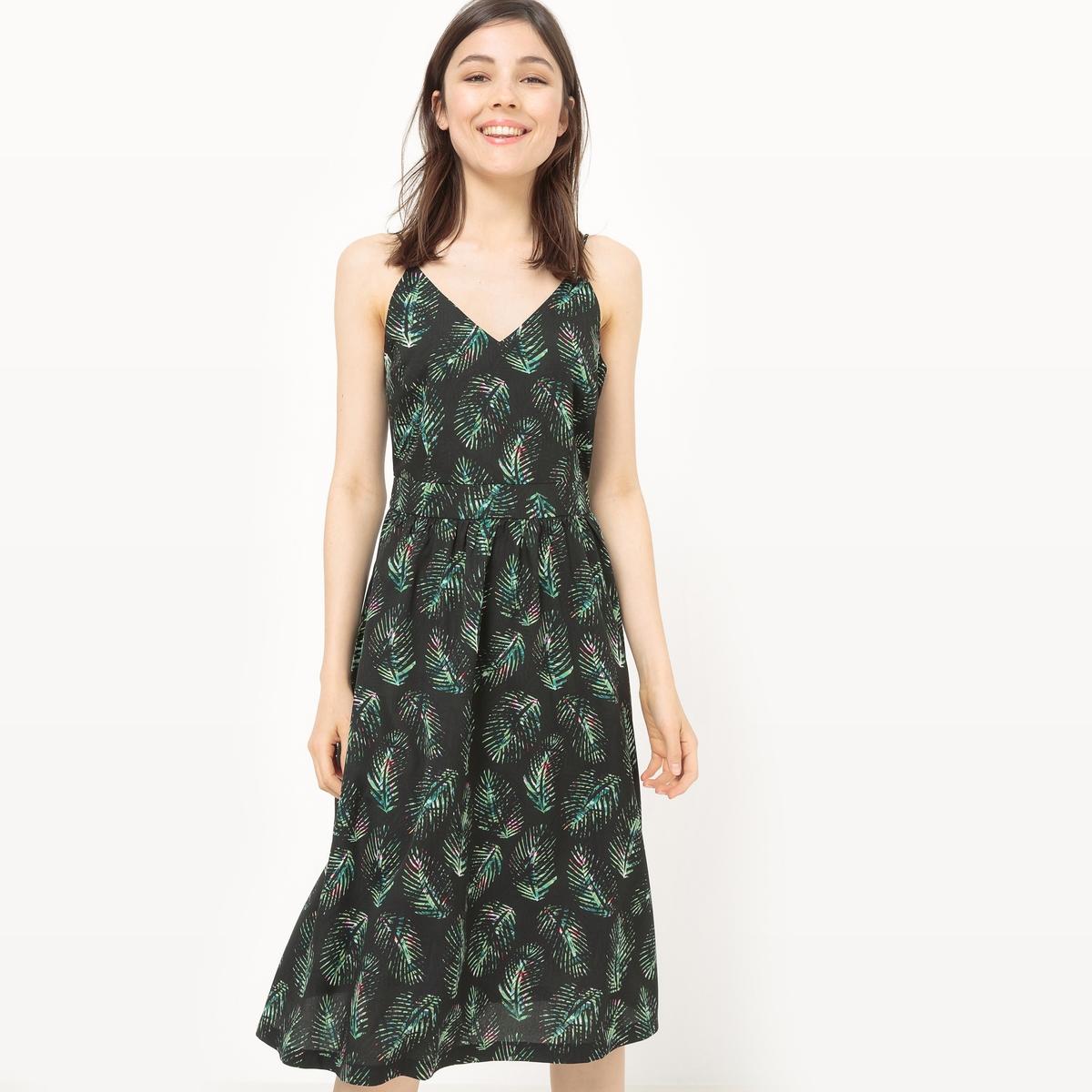Платье на тонких бретелях с принтом листья от La Redoute