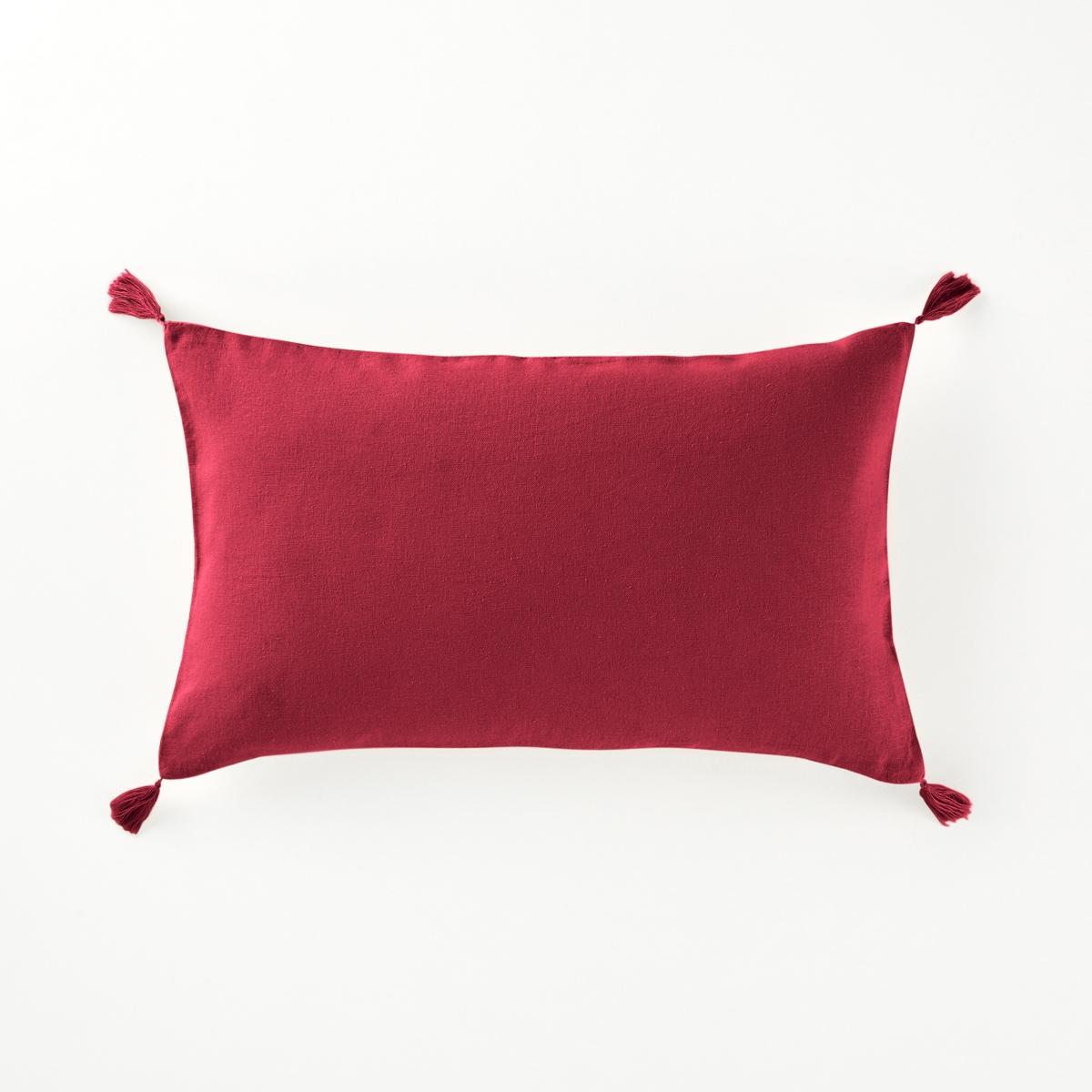 Наволочка на подушку-валик из льна и вискозы, OdorieНаволочка на подушку-валик с кисточками из льна и вискозы,  Odorie, La Redoute Int?rieurs.Наволочка на подушку-валик для ежедневного использования: красивое сочетание льна и вискозы, отделка кисточками. Характеристики чехла для подушки :Материал : 55% льна, 45% вискозыЗастежка на скрытую молнию. Уход : Машинная стирка при 40 °С. Отделка кисточками по 4 углам.Размеры наволочки на подушку-валик :50 x 30 см.    Уход :Следуйте рекомендациям по уходу, указанным на этикетке изделия.  Знак Oeko-Tex® гарантирует, что товары прошли проверку и были изготовлены без применения вредных для здоровья человека веществ.<br><br>Цвет: бежевый,гранатовый,сине-зеленый<br>Размер: 50 x 30 см