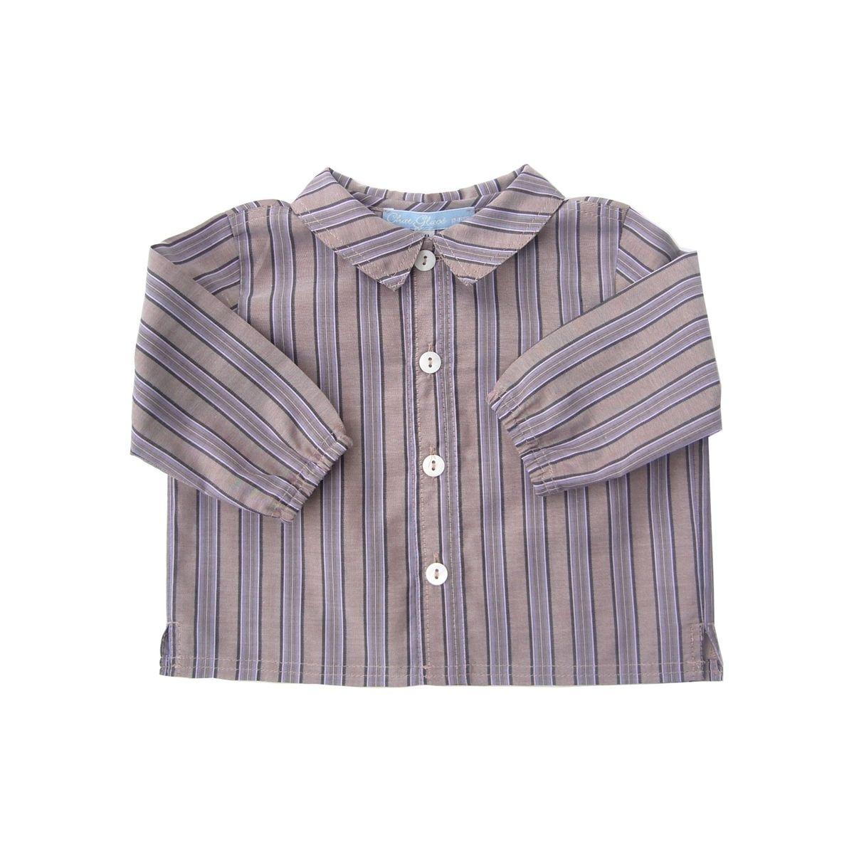 Chemise de garçon à rayures marron pour bébé