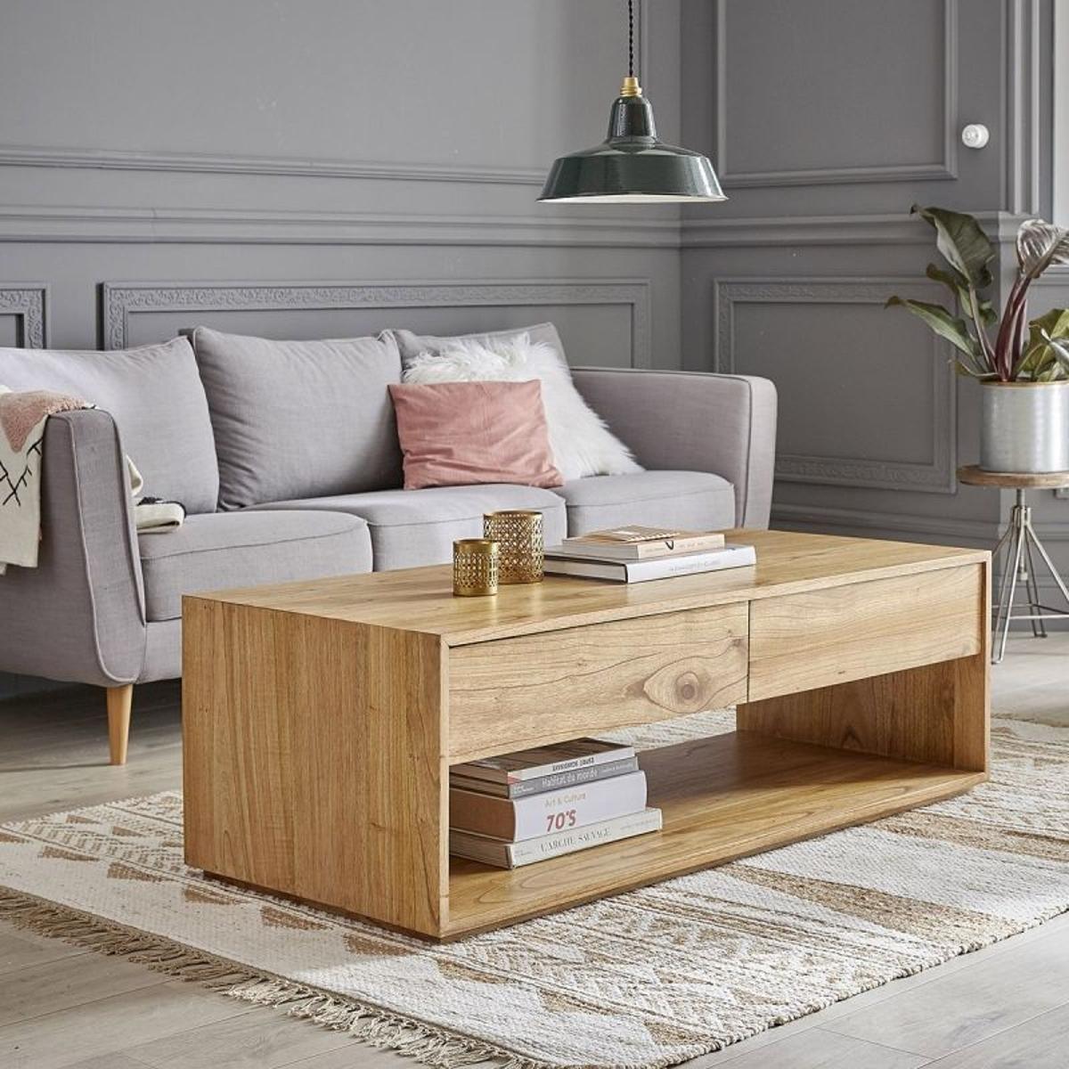 Table basse en bois de mindy 4 tiroirs 140