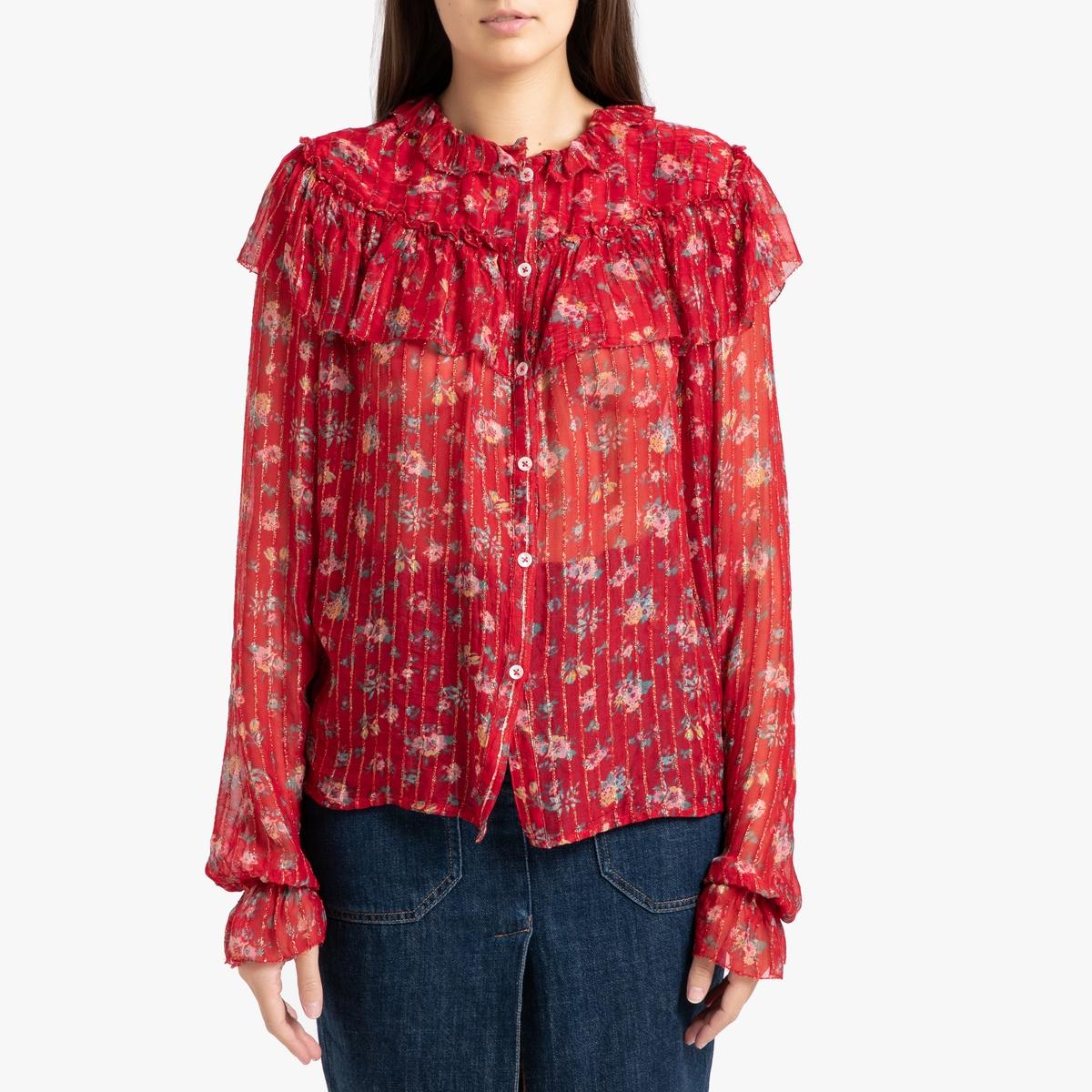 Рубашка La Redoute С радужным принтом длинные рукава CENDRINE XS красный