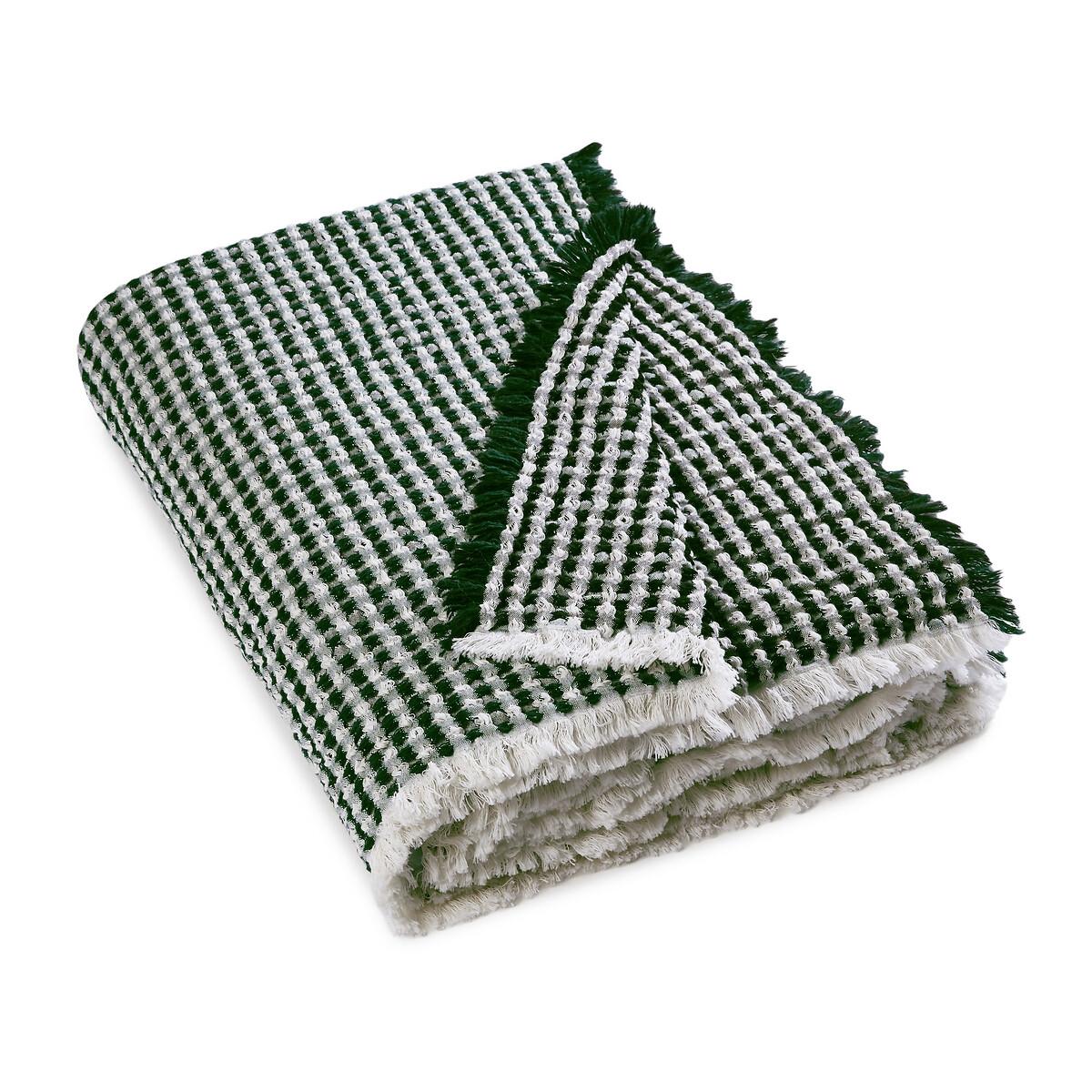 Плед LaRedoute Из хлопка и шерсти Moutyan 130 x 170 см зеленый