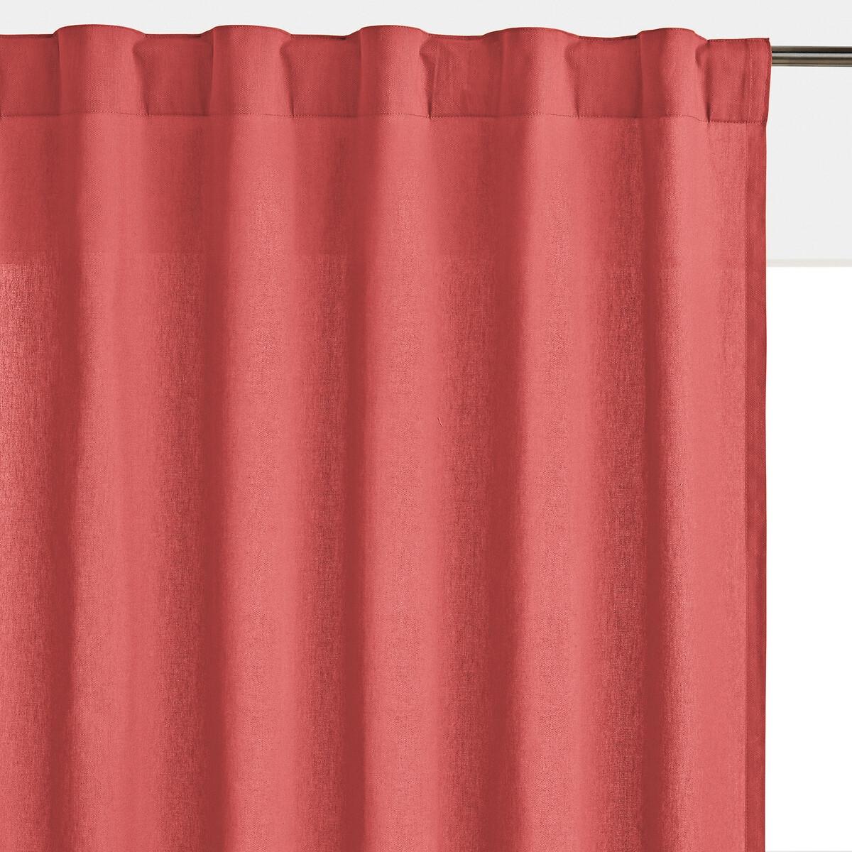 Штора LaRedoute 100 хлопок с отделкой потайными клапанами Scnario 180 x 135 см розовый