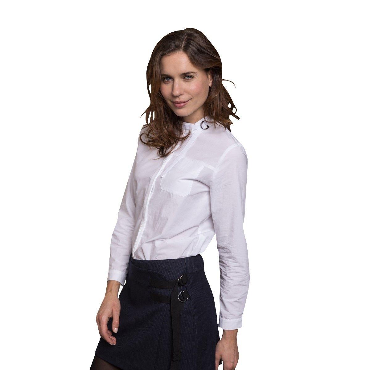 Chemise blanche à col mao en coton
