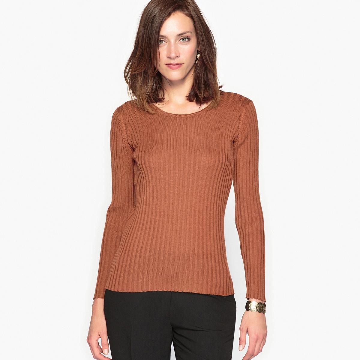 Пуловер с круглым вырезом, 50% шерсти мериноса