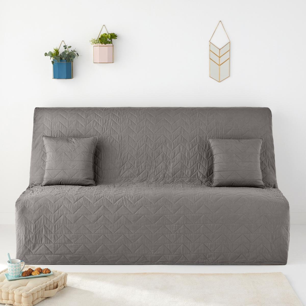 Стеганый LaRedoute Чехол для раскладного дивана Zig Zag Scenario единый размер серый