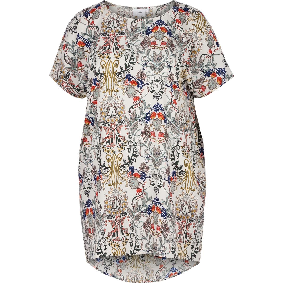 Платье ZIZZIПлатье ZIZZI. Платье-балахон с рисунком. Короткие рукава. 98% полиэстера, 2% эластана.<br><br>Цвет: набивной рисунок<br>Размер: 46/48 (FR) - 52/54 (RUS).50/52 (FR) - 56/58 (RUS)
