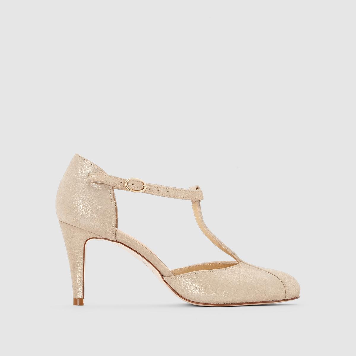 Туфли кожаные на каблуке, с пряжкой, ALIBISПодкладка: кожа.    Стелька: кожа.       Подошва: эластомер.       Форма каблука: шпилька.Мысок: острый.Застежка: Ремешок/пряжка.<br><br>Цвет: Платиновый
