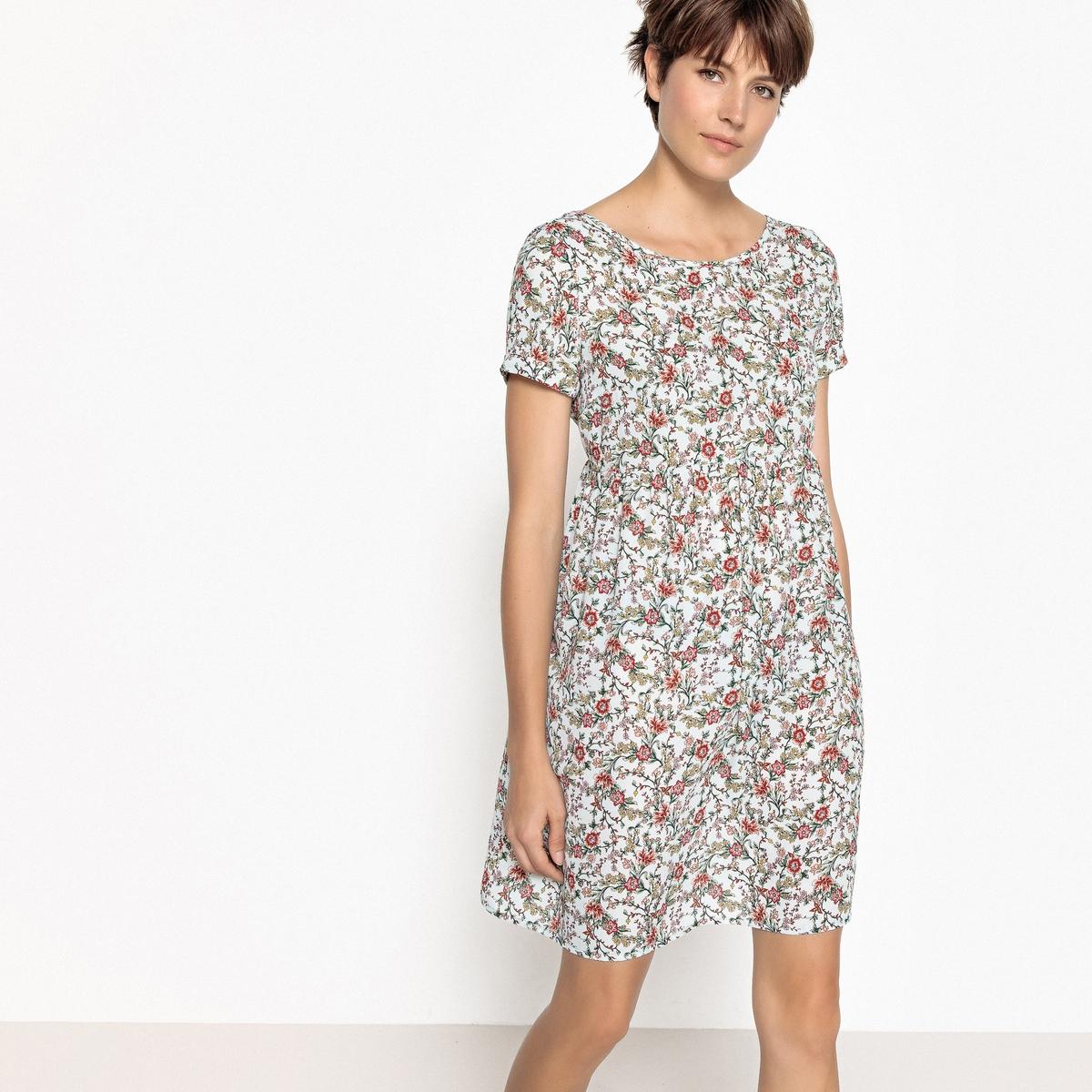 Платье короткое прямое с цветочным рисунком и короткими рукавами короткое расклешённое платье с короткими рукавами azteca skirt