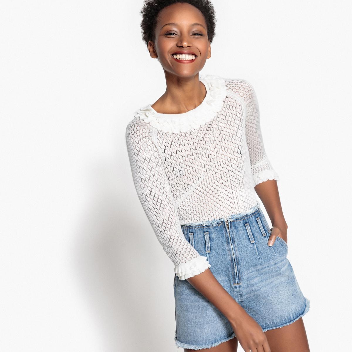 Пуловер с вырезом-лодочкой с воланами из ажурного трикотажа