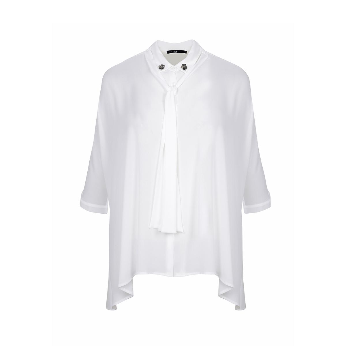 Блузка с бантом и украшением на вырезе, с короткими рукавами блузка кружевная с короткими рукавами